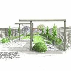 Sketch by John Kenny slowing a modern, minimalist back yard with an 'L' shaped lawn.