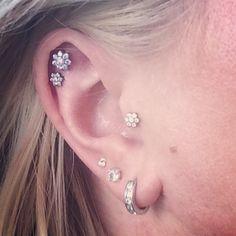 I love my ear piercings! Industrial Strength studs in my tragus & scapha with three lobe piercings.