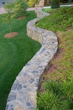 Backyard Retaining Walls, Building A Retaining Wall, Garden Retaining Wall, Stone Retaining Wall, Concrete Patio, Retaining Wall Drainage, Stained Concrete, Landscape Design, Garden Design