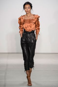 silk charmeuse + paper bag leather pants. Marissa Webb Spring 2017 Show