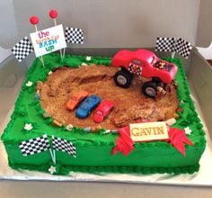 CakesbyKirsten. Monster truck rally cake. Chocolate cake filled with vanilla buttercream # monster truck cake # Monster truck rally #fondant monster truck. # trucks and cars