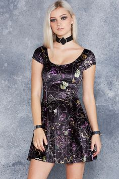 Planisphere Black Velvet Evil Cheerleader Dress - 48HR ($130AUD) by BlackMilk Clothing