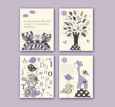 Baby girl Room Decor, Nursery wall Art prints, set of 4 8x10..lavender, purple, black and white, giraffe,birds, turtle. $65.00, via Etsy.