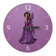 #Pink #Fairy #Wall #Clock