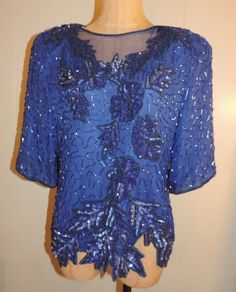 Woman's J-R-T Large Silk Beaded Sequin Royal Blue Short Sleeve Evening Top Shirt #JRT #Evening