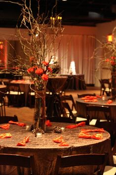 Gold crush linens and dark wood chairs - Indoor fall wedding reception idea!   Weddings Wedding Reception Photos on WeddingWire