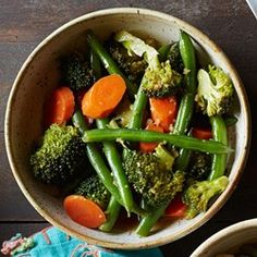 Sesame-Ginger Marinated Vegetables (keto) - green beans, carrots, broccoli, sesame oil, rice vinegar, soy sauce, scallions and ginger