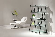 Beautiful Gray and Tempered Glass Bookcase or Shelving Unit