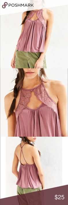Kimchi Blue • Luna Lace Yoke Cami New with tags Urban Outfitters Tops Tank Tops
