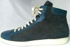 DESIGNER LUXURY mens hi top ROYAL BLUE SUEDE & LEATHER sneakers (sz 11.5) #Handmade #FashionSneakers