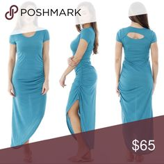 Teal Cutout Asymmetric Short Sleeve Maxi Dress M L Gorgeous summer color, cute cut out back, super comfortable jersey fabric, and a flirty asymmetrical ruched side hemline. This maxi dress is a summer must have. Short sleeves, scoop neck.  Sizes medium and large  ❌ Sorry, no trades. fairlygirly Dresses Maxi