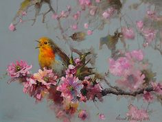 Singing Bird Mid Flowers by Ann Hardy Oil ~ 12 x 16
