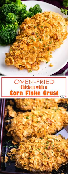 Oven-Fried Chicken with a Corn Flake Crust Healthy Fried Chicken, Fried Chicken Tenders, Oven Fried Chicken, Cornflake Chicken Baked, Cornflake Recipes, Chicken Tender Recipes, Fried Chicken Recipes, Cornflakes, Baked Corn