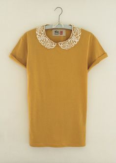 Mustard Lace Peter Pan Collar Tshirt by FineandDandyUK on Etsy, £12.50