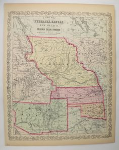 Rare Antique Map 1858 Mitchell Desilver Map Nebraska New Mexico Map Kansas Indian Territory Map Middle Us Map Historical Map Ne Nm Map Ks