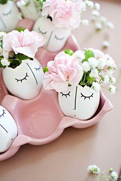 osterdeko basteln osterdeko eierschalen blumen