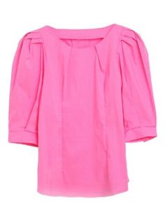 Pink Puff Sleeve Pleat Detailed Blouse
