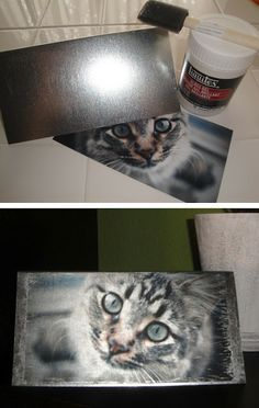 Transfer photo onto metal - very cool and inexpensive craft More