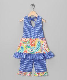 Take a look at this Cobalt Polk Dot Halter Top & Capri Pants - Toddler & Girls on zulily today!