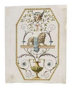 Soane Drawings - Record drawing of an octagonal panel with Egg-and-dart border, showing a lion on a scalloped shelf with a winged mask above and urn with handles below, with foliage and rosettes throughout.
