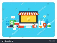 Online shopping, Eshop, Internet selling, online marketing. Flat design modern vector illustration concept.