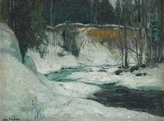 """Snow Covered Embankment with Stream,"" John Fabian Carlson, oil on canvas laid on board, 11 3/4 x 15 7/8"", private collection."