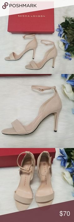 "Sasha London suede Heels New in box!  Gorgeous nude strappy 4"" heels with soft, padded footbed. Perfect condition, with Box and dust bag Sasha London Shoes Heels"