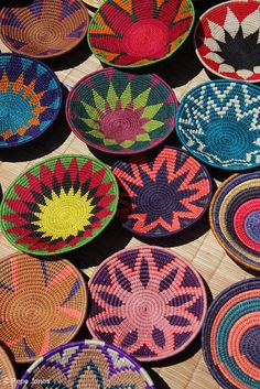 Colourful Swazi baskets photographed at Manzini market