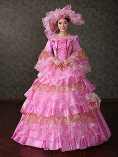 d1cbf6d57f0e Women's Vintage Costume Victorian Ball Gown Pink Retro Dress With Hat  Halloween #Victorian, #. Victorian Ball GownsVictorian ...