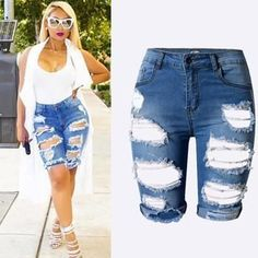 Washed Distressed Midi Short Jeans Ripped Jeans Style, Womens Ripped Jeans, Ripped Boyfriend Jeans, Ripped Shorts, Ripped Denim, Sexy Jeans, High Waisted Shorts, Denim Shorts, Hot Shorts