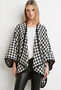 Houndstooth Open-Front Poncho | Forever 21 - 2000173986 NEW ARRIVAL! Get it now!