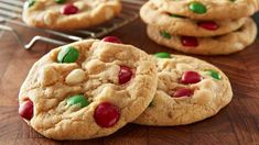 M&M's™ Pudding Cookies - We took everyone's favorite basic M&M's™ cookie and added vanilla pudding for an easy, scratch cookie with tons of flavor — then dolled them up for Christmas with green and red M&M's™ and white chocolate chips. Holiday Baking, Christmas Baking, Christmas Kitchen, Christmas 2017, Fudge, Cookie Recipes, Dessert Recipes, Baking Recipes, Baked Chips