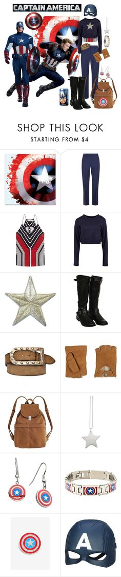 """""""Captain America"""" by allyssister ❤ liked on Polyvore featuring Diane Von Furstenberg, Mary Katrantzou, Boohoo, Pilot, Axara, UGG, BAGGU, design *by Imre Bergmann and Marvel"""
