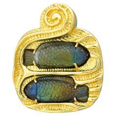 Elizabeth Gage Large 18k gold carved labradorite fish brooch pin by Elizabeth Gage @ oakgem.com