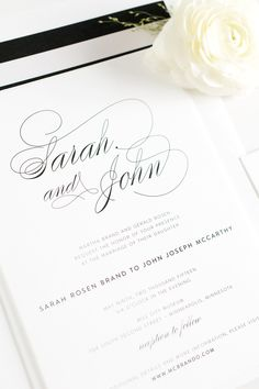 Elegant Calligraphy Wedding Invitations in Black and White