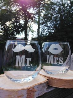 Mr and Mrs Mustache and Smooch Etched Glass by UrbanBelleNewYork
