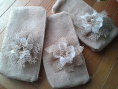 Free Shipping Set of 3 Wedding Burlap Zipper by SSOWEDDINGSHOP, £37.50
