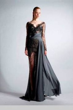 Zuhair Murad Fall 2010 RTW Longsleeve V-Neck Lace Gown With Silk Draped Front and Sheer Skirt as seen on Blake Lively