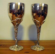 godinger silver goblets | Vintage Wine Goblets, set of 2 Godinger wine silver plated wine ...