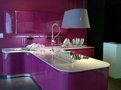 a magenta kitchen. cool.