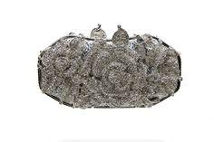 Claire Silver Rhinestone Hard Shell clutch