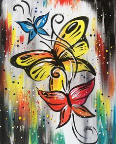 Join us for a Paint Nite event Tue Jul 2018 at Bannister Rd SE Calgary, AB. Purchase your tickets online to reserve a fun night out! Check out Butterfly Confetti at Cafe del Sol - Paint NitePaint Nite events near Minneapolis, MNLucky Strike Philadelphia a Simple Canvas Paintings, Diy Canvas Art, Acrylic Painting Canvas, Hand Painted Canvas, Butterfly Drawing, Butterfly Painting, Guache, Learn To Paint, Teaching Art