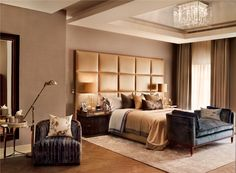 In the master bedroom and dressing room the use of opulent textures, such as solid rose wood and silver stained velum with nickel accents, creates a space to which the clients can retreat from their demanding international schedules. Designed by Katharine Pooley.