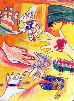 Elemental Hands - use for 5th grade on Day 1! - Artsonia