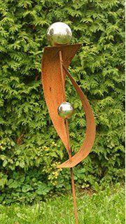 gartendeko rost stecker lieblingsstab 120 cm mit 3 edelstahlkugeln, Garten ideen
