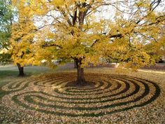 labyrinth around the tree. I have a simple labyrinth around a tree in my yard, too. What Is A Labyrinth, Labyrinth Garden, Labyrinth Maze, Land Art, Walking Meditation, Meditation Center, Mabon, Samhain, Deco Floral