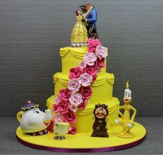 Disney Party ideas: Beauty & the Beast cake Beauty And Beast Cake, Beauty And The Beast Cake Birthdays, Beauty And The Beast Wedding Cake, Unique Cakes, Creative Cakes, Beautiful Cakes, Amazing Cakes, Movie Cakes, Belle Cake