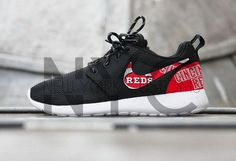 Nike Roshe Run Black White Cincinnati Reds  Custom by NYCustoms I need these in my life!!!!