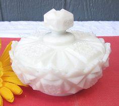 Westmoreland Old Quilt Milk Glass Pattern Powder Jar & Lid C. 1950s/ -- Antique Price Guide Details Page