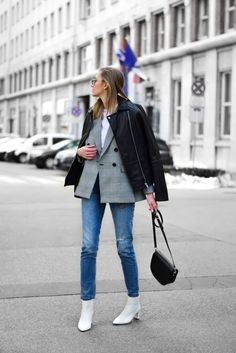 checked blazer and white boots outfit